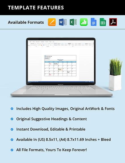 Free Blank HR Calendar format
