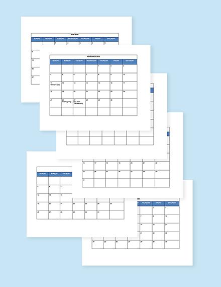 Free Simple HR Calendar Template sample