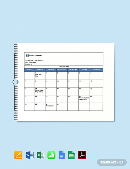 Free Simple HR Calendar Template