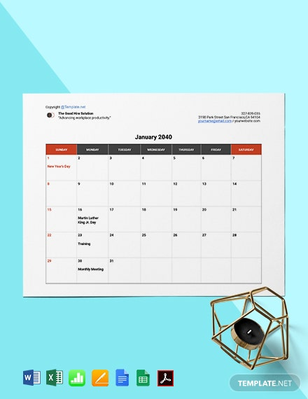 Free Sample HR Calendar Template