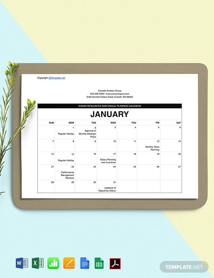 Free Printable HR Calendar Template