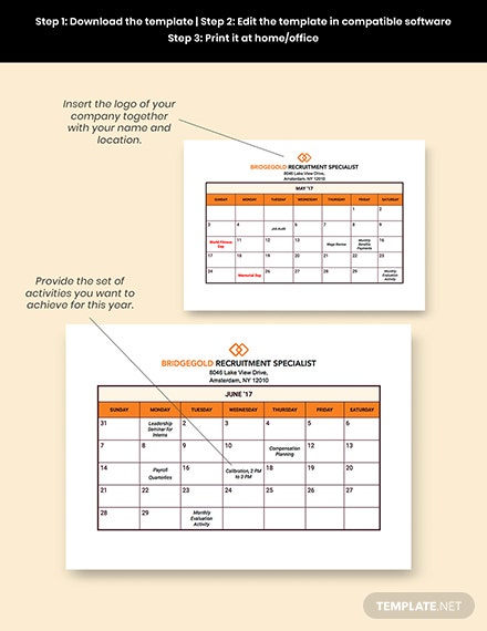 HR Annual Planning Calendar Editable