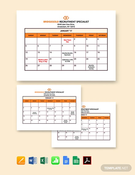 HR Annual Planning Calendar Template