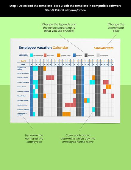 Employee Vacation Calendar Template Format