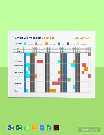 Employee Vacation Calendar Template