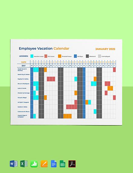 Employee Vacation Calendar Template