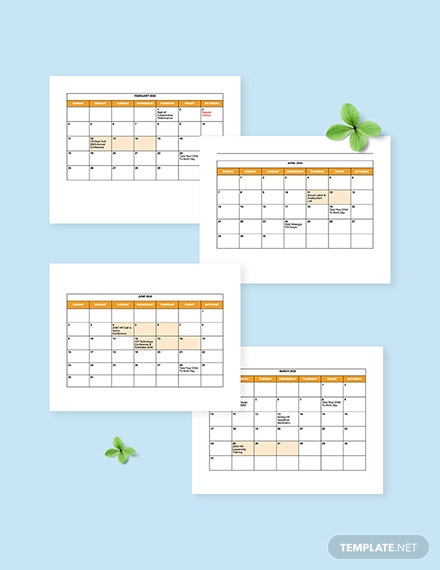 HR Annual Events Calendar Template SAMPLE