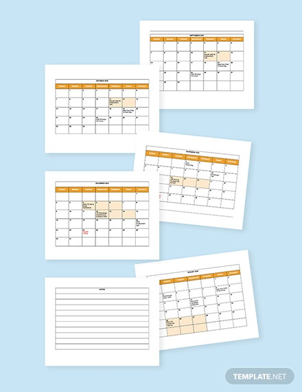 HR Annual Events Calendar Template printable