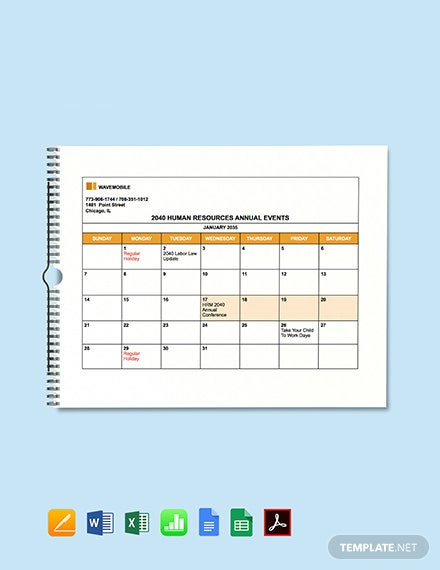 HR Annual Events Calendar Template