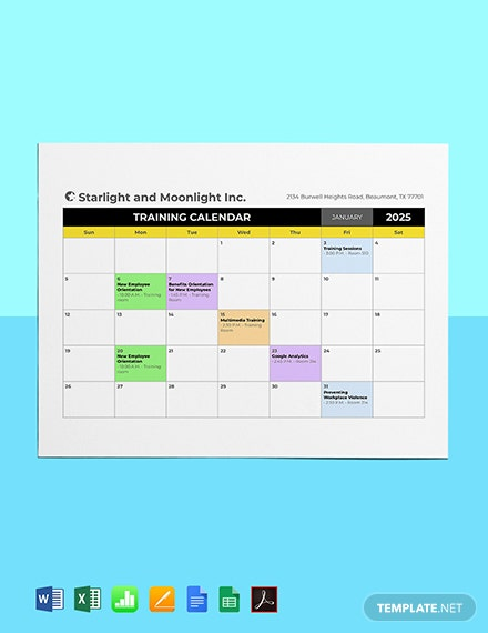 HR Training Calendar Template