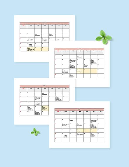 HR Activities Calendar Template editable