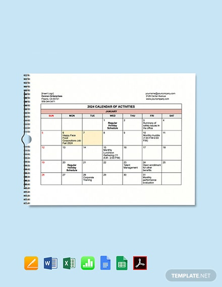 HR Activities Calendar Template