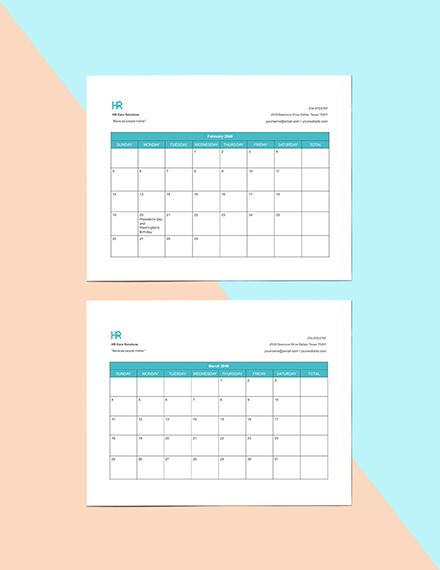 Employee Attendance Calendar Template Format