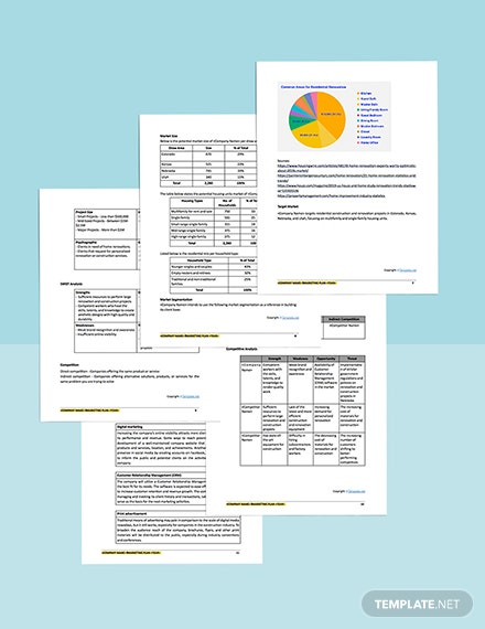 Free Modern Construction Marketing Plan Template printable