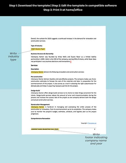 Free Modern Construction Marketing Plan Template snippet