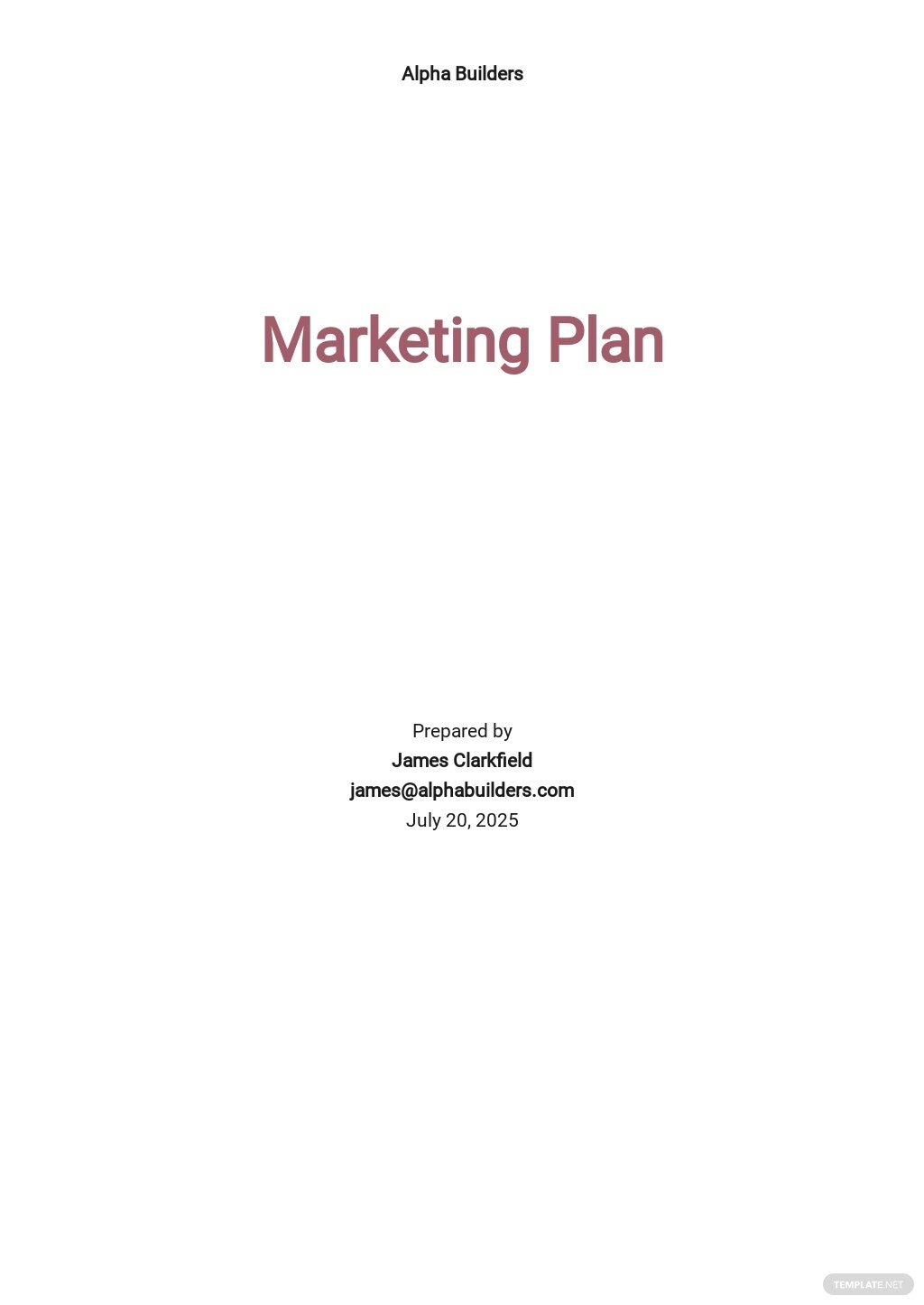 Modern Construction Marketing Plan Template