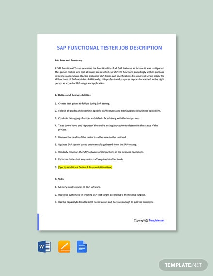 Free SAP Functional Tester Job Ad/Description Template