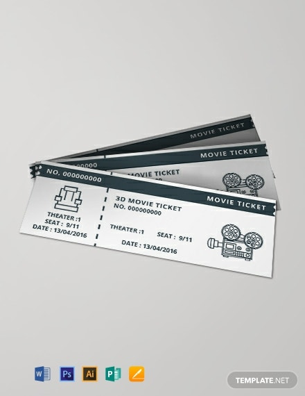 Free Vintage Movie Ticket Template