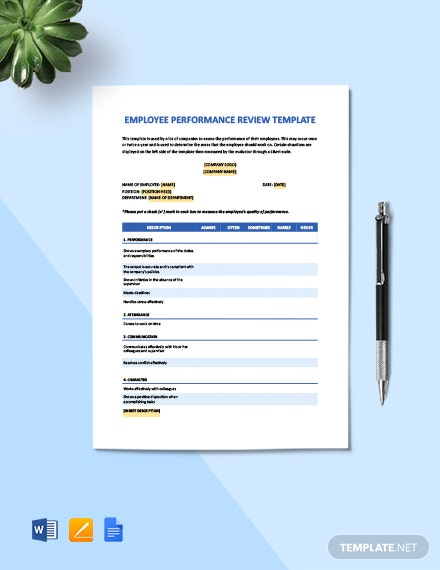 Free Sample Employee Performance Review Template