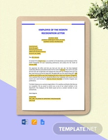 Employee of the Month Recognition Letter Template