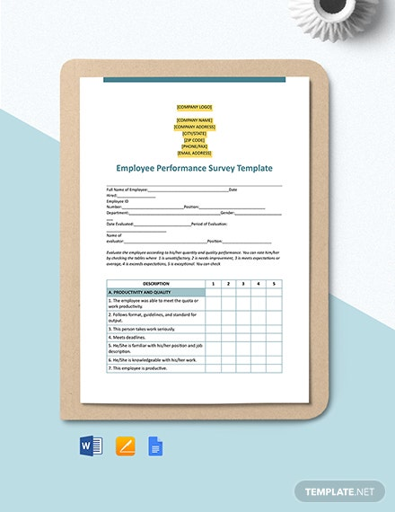 Employee Performance Survey Template