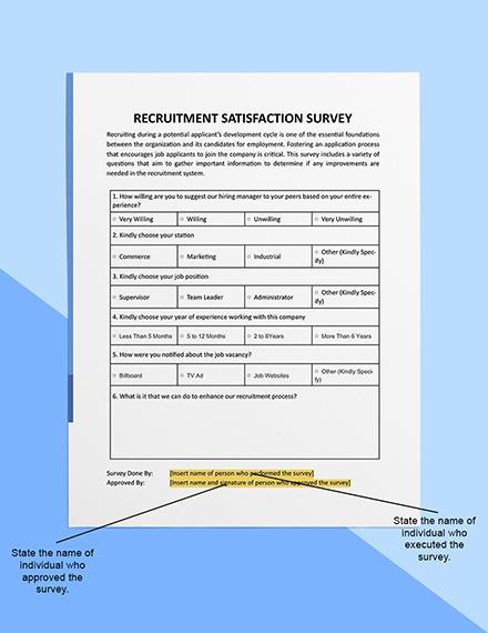 Recruitment Satisfaction Survey Sample