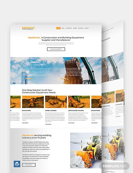 Construction Equipment WordPress Theme/Template