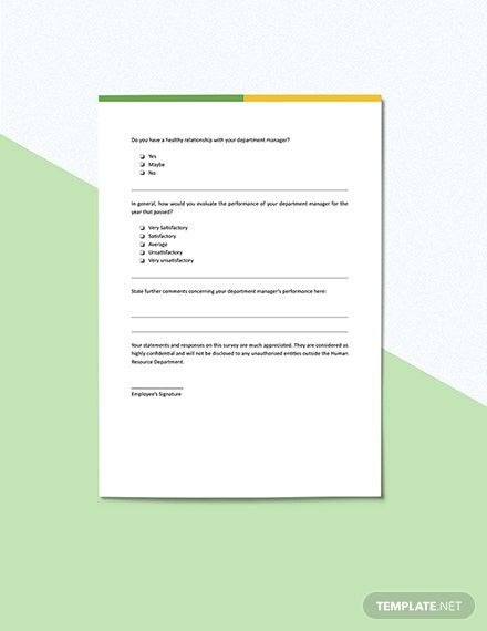 Employee Feedback Survey for Manager Template Sample