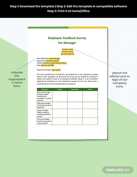 Employee Feedback Survey for Manager Template Download
