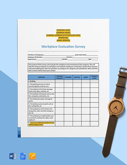 Workplace Evaluation Survey Template