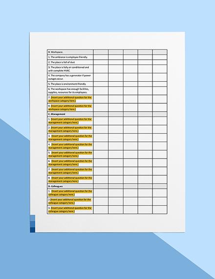 Workplace Evaluation Survey Sample
