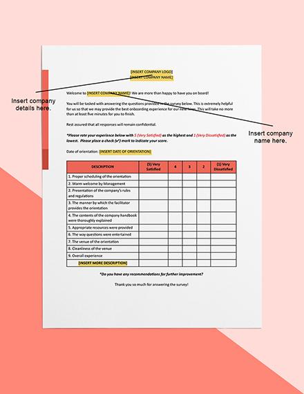 New Employee Orientation Survey Printable