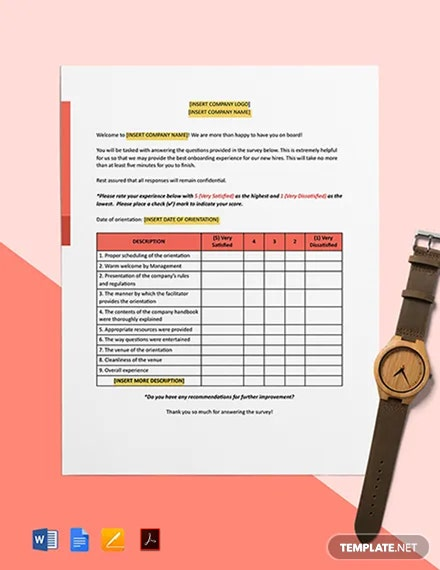 New Employee Orientation Survey Template