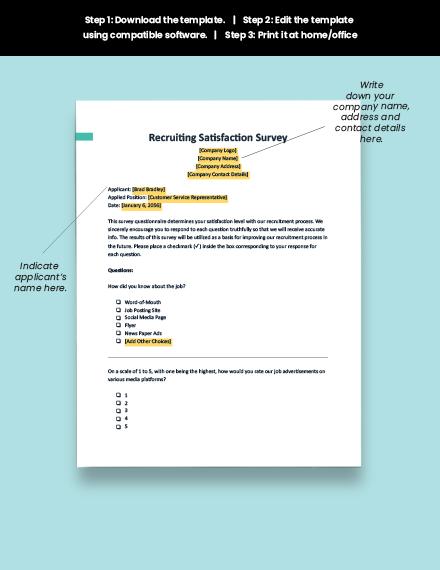 Recruiting Satisfaction Survey Format