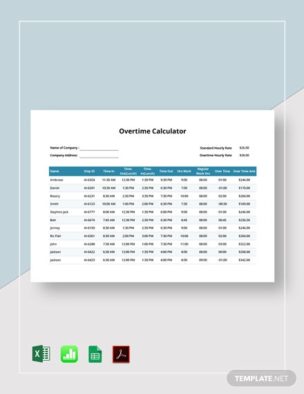 Free Overtime Calculator Template