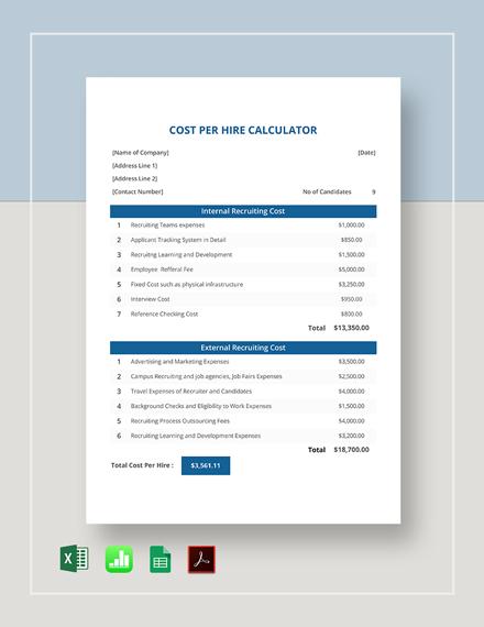 Free Cost Per Hire Calculator Template