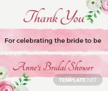 Bridal Shower Thank You Tag Template
