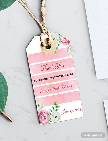 Free Bridal Shower Thank You Tag Template