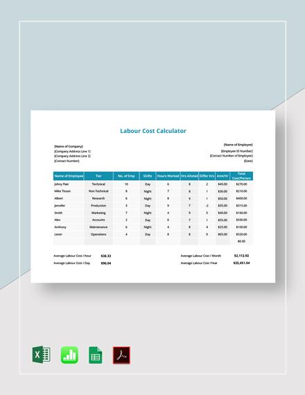 Labour Cost Calculator Template