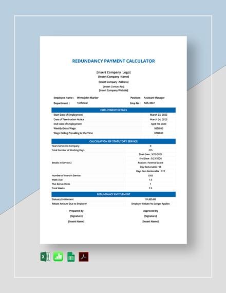 Redundancy Payment Calculator Template  - Google Docs, Google Sheets, Excel