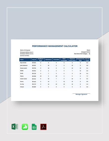 Performance Management Calculator Template