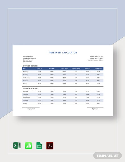 Time Sheet Calculator Template