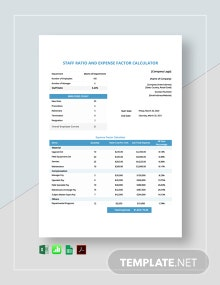 Staff Ratio And Expense Factor Calculator Template