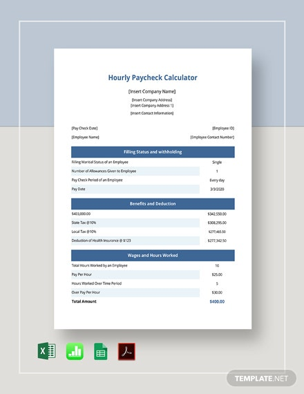 Hourly Paycheck Calculator Template  - Google Docs, Google Sheets, Excel, Word, Apple Numbers, Apple Pages