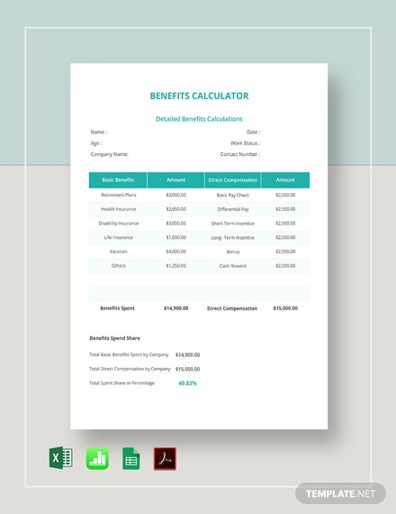 Benefits Calculator Template  - Google Docs, Google Sheets, Excel, Apple Numbers