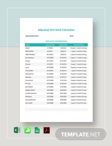 Adjusted Hire Date Calculator Template