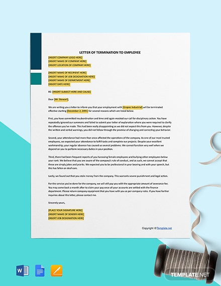 Free Basic Termination Letter to Employee Template