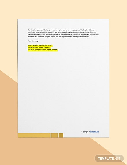 Free Sample Termination Letter For Cause  Download