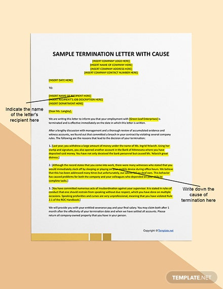 Free Sample Termination Letter For Cause  Sample