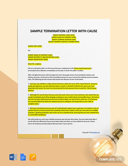 Free Sample Termination Letter for Cause (Attendance) Template